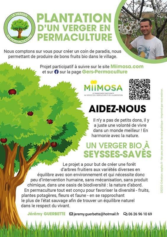 flyer le verger en permaculture réalisé par sepho